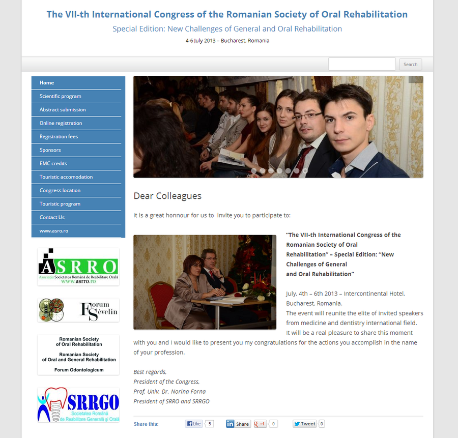 The VII th International Congress of the Romanian Society of Oral Rehabilitation